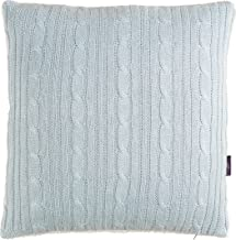 Brielle Cozy Cable Knit Throw Pillow with Sherpa Backing, 18 x 18, Blue