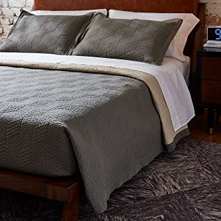 Rivet Modern Stone Washed Textured Geo Coverlet Bedding Set, Full / Queen, Soft and Easy Care, 90