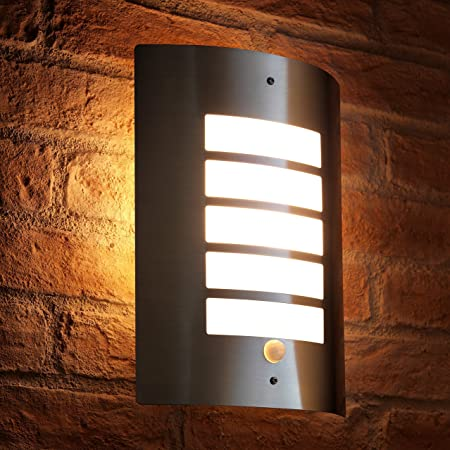 Auraglow Energy Saving Motion Activated PIR Sensor Outdoor Security Wall Light - Silver - Warm White