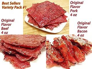 Variety Pack #1 Pork and Beef Jerky (Original Flavor - 12 Ounce weight) - Original Flavor Pork (4 oz), Original Beef (4 oz), Original Bacon (4 oz)