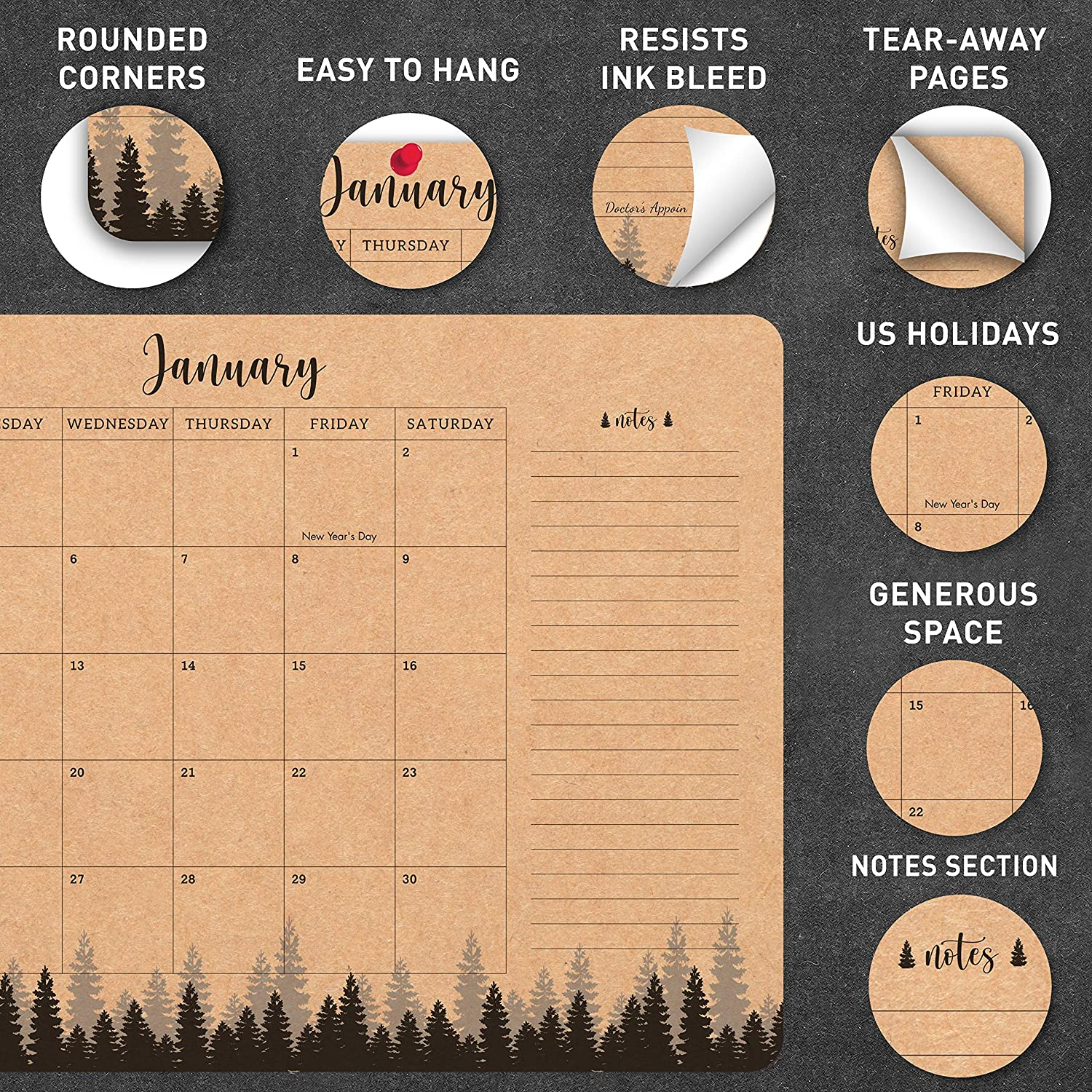 Jan 2021 - Dec 2021 Family,Business Home MUDRIT 2021 Wall//Desk Yearly Kraft Calendar Brown Rustic Large Pages 12 X 17 Monthly Daily Planner Big Blotter Desktop//Hanging Pad School Academic Planning Office