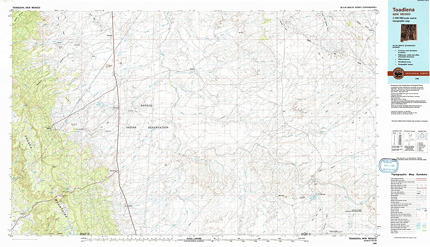 Toadlena NM topo map, 1 100000 Scale, 30 X 60 Minute, Historical, 1980, Updated 1992, 24.1 x 43.4 in