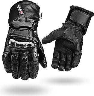 guantes de moto de cuero impermeables