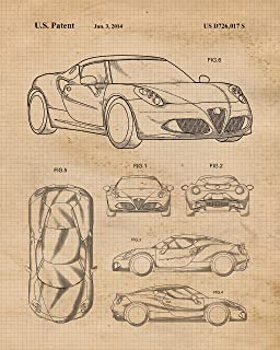 Original Alpha Romeo & Maserati Patent Poster Prints, Set of 4 (8x10) Unframed Photos, Wall Art Decor Gifts Under 20 for for Home, Office, Man Cave, College Student, Teacher, Italy Cars & Coffee Fan