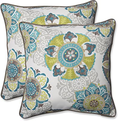 "Pillow Perfect Outdoor/Indoor Allodala Oasis Throw Pillows, 18.5"" x 18.5"", Blue, 2 Pack"