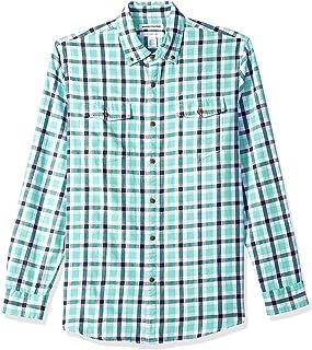 Amazon Essentials camisa de sarga de dos bolsillos a cuadros de manga larga de ajuste delgado para hombre