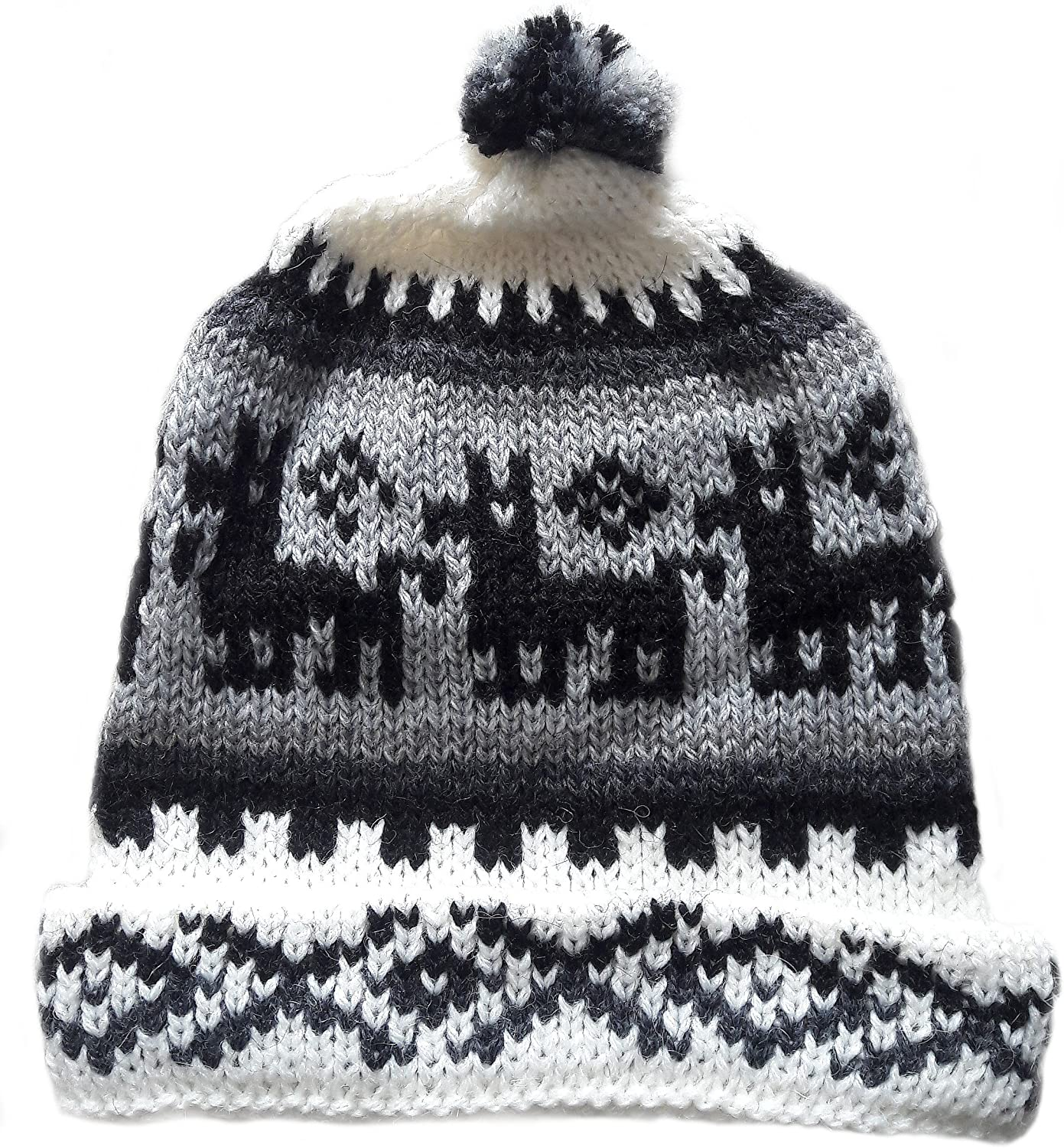 Alpakaandmore, Unisex Black and White Peruvian Beanie Hat, Alpaca Wool Handmade