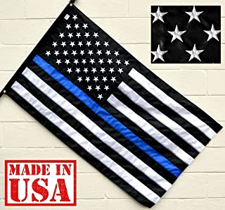 US Flag Factory 3x5 FT American Thin Blue Line Flag (Embroidered Stars, Sewn Stripes) for Police Officers - Blue Lives Matter Flag - Outdoor SolarMax Nylon - 100% Made in America