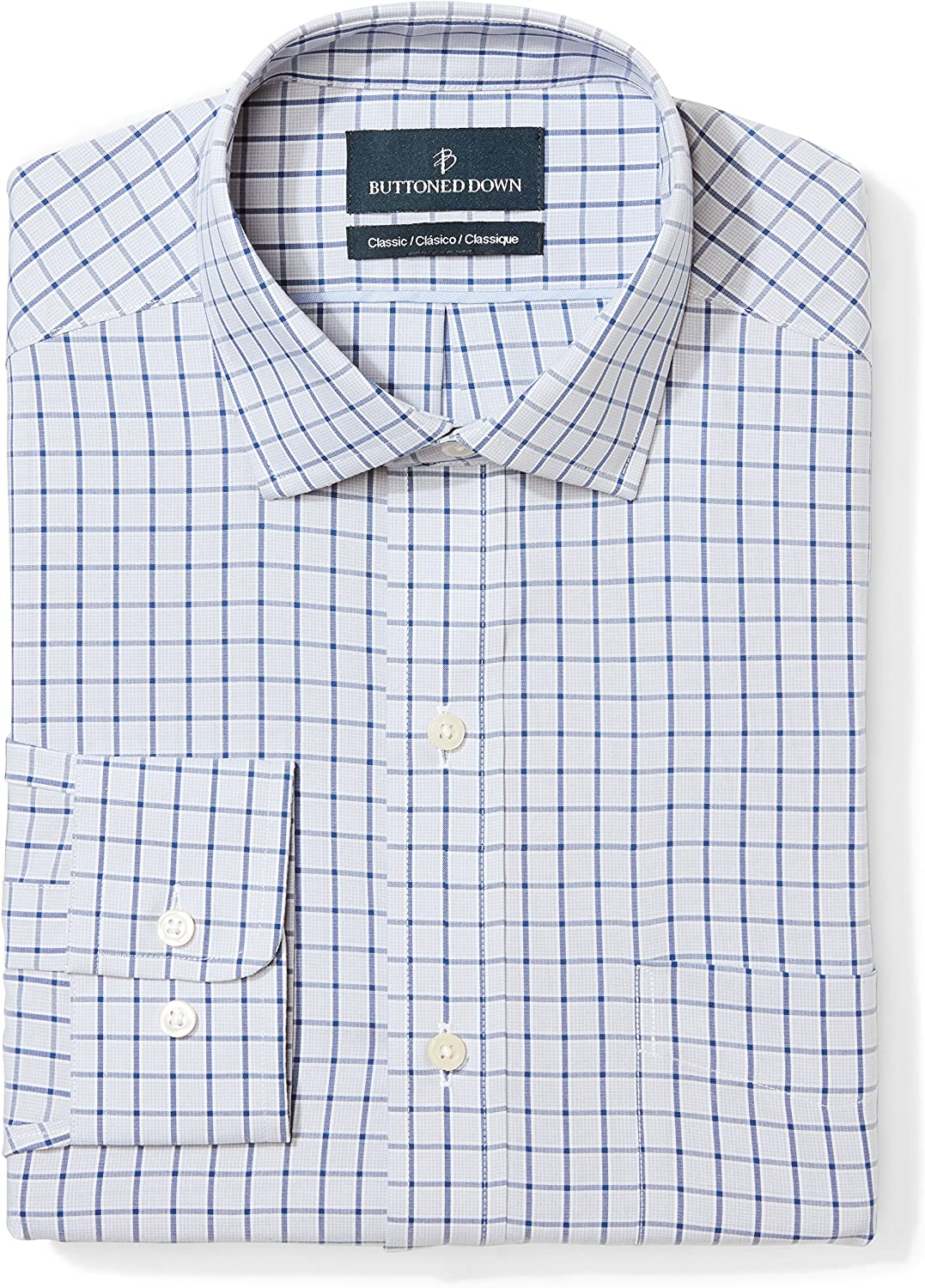 Buttoned Our shop OFFers the best service Down Men's Classic Fit Collar Shir Dress Pattern Max 82% OFF Spread