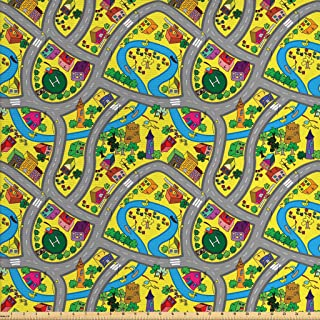 Ambesonne Car Race Track Fabric by The Yard, Abstract Roadway Activity Illustration with River Intersecting Roads, Decorative Fabric for Upholstery and Home Accents, 2 Yards, Grey Yellow