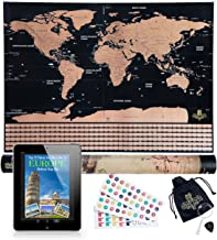 BEST Scratch Off World Map Poster For Travelers And Kids, Includes Scratch Tool, Memory Stickers and BONUS eBook,Travel Map With Country Flags, Unique wall poster, large