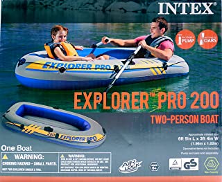 Intex Explorer Pro 200 Two Person Boat Inflatable Raft with Air Lock Technology