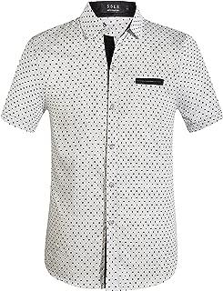 SSLR Men's Cotton Polka Dot Short Sleeves Slim Fit Dress Shirts