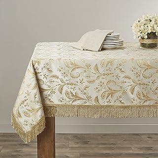 "Violet Linen Luxury Damask Design Tablecloth, 60"" Round, Beige"