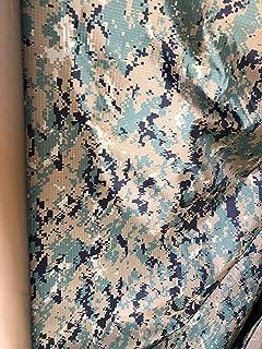 Camo Camouflage Marpat USMC Marine Corps Woodland Digital Nylon Ripstop Fabric, Coyoye Coated Water Repellent, Fire Retardant (1 Yard)