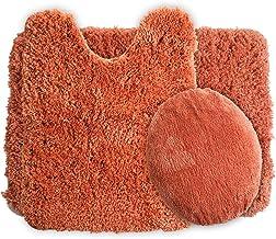 Lavish Home 3-Piece Super Plush Non-Slip Bath Mat Rug Set Rust