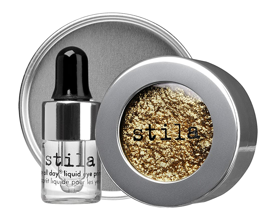 印象的な数値熟考するスティラ Magnificent Metals Foil Finish Eye Shadow With Mini Stay All Day Liquid Eye Primer - Vintage Black Gold 2pcs並行輸入品