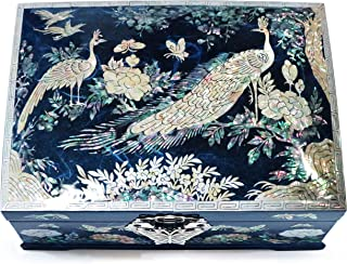 Jewelry Box Ring Organizer Mother of Pearl Inlay Mirror Lid 2 Level Peacock (Blue)
