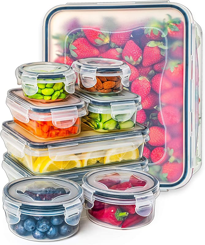 Food Storage Containers With Lids Plastic Food Containers With Lids Plastic Containers With Lids Storage Meal Prep Containers With Lids Kitchen Storage Containers Lunch Containers 9 Pack