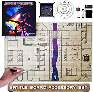 """DND BATTLE MAT SET - Battle Master Grid Game Mat Set 36"""" x 24"""" Dungeons and Dragons Starter Set, Players of DND & Other RPG Tabletop Gaming Board Map Accessories (Original Version)"""