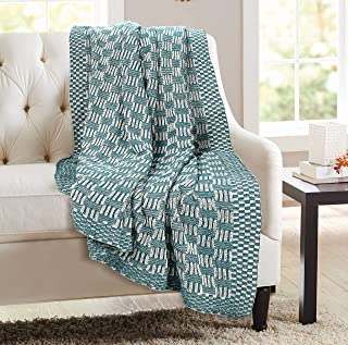 GLAMBURG 100% Cotton Knitted Throw Blanket for Couch Sofa Bed Beach Travel 50x60, Cotton Throw Blanket for Adults, All Season Chunky Knit Throw Blanket, Basket Weave Knitted Throw Blanket Teal