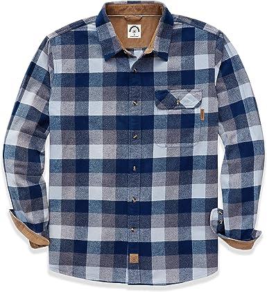 Dubinik - Camisa de franela de manga larga a cuadros de ...