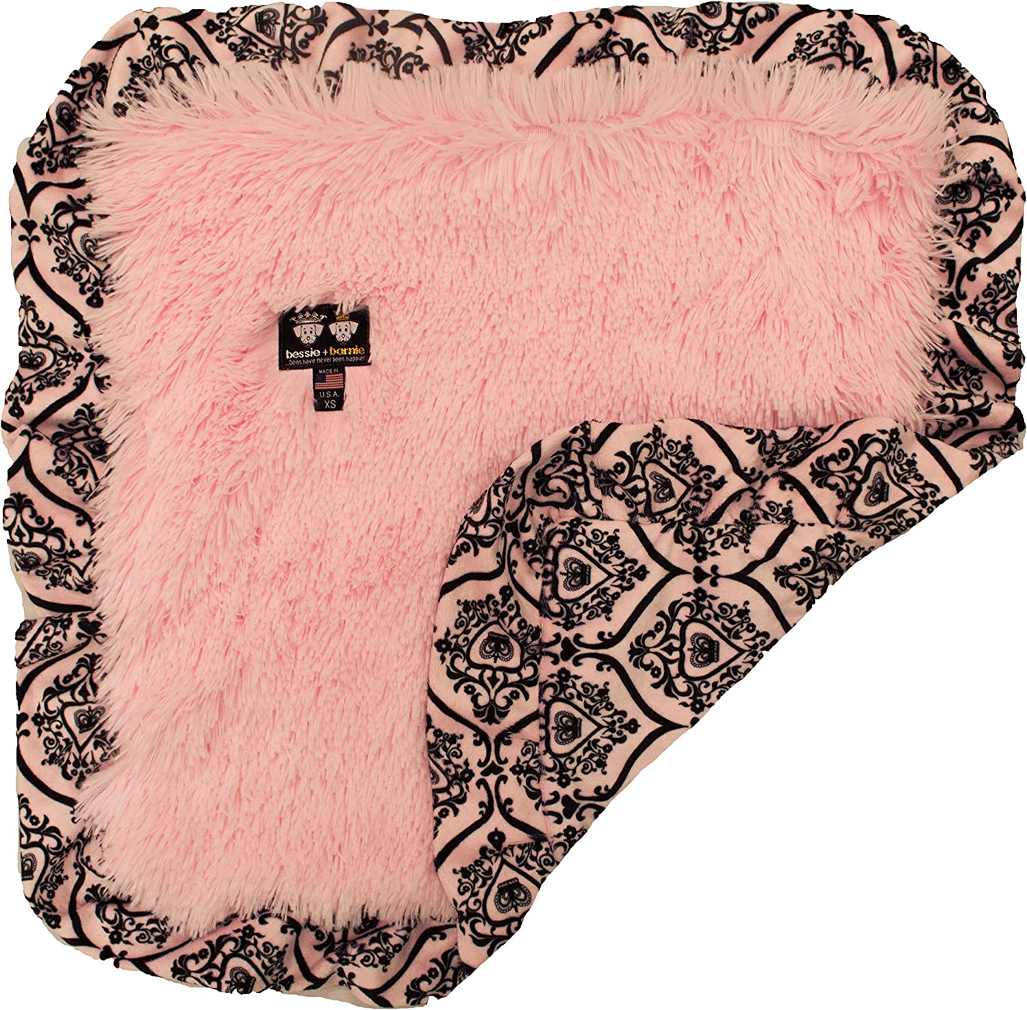 BESSIE AND BARNIE Versailles Pink Ruffle Bubble Gum Shag Ultra Plush Faux Fur Pet, Dog, Cat, Puppy Super Soft Reversible Blanket (Multiple Sizes)