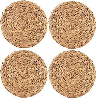 wellhouse Natural Handmade Straw Woven Placemat Wooden Round Braided Mat Heat Resistant Hot Insulation Anti-Skidding Pad Water Hyacinth Placemats(14.56