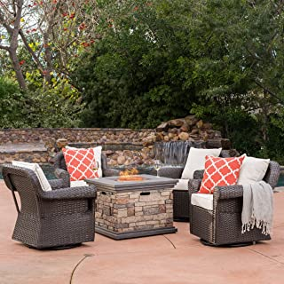 Christopher Knight Home 300248 Augusta Patio Furniture ~ 5 Piece Outdoor Wicker Rocking Arm Chair and Propane, Stone Fire Pit