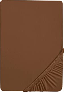 Castell 0077113 Drap housse en Jersey extensible (hauteur du matelas max.22 cm) 1x 140x200 cm > 160x200 cm, Chocolat