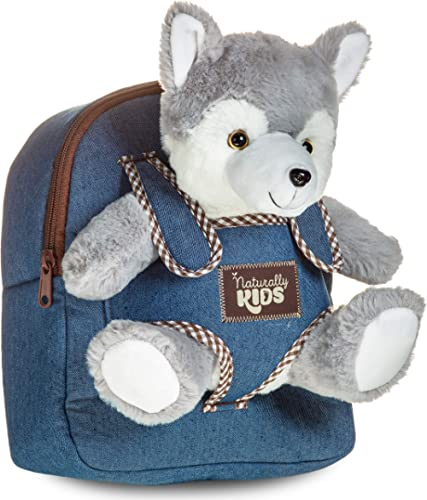 Toddler Kids Backpack w Husky Toy Wolf Stuffed Animal Plush Toys for 3 4 5 6 7 Year Old Girls Boys - Gifts for 3 4 5 ...