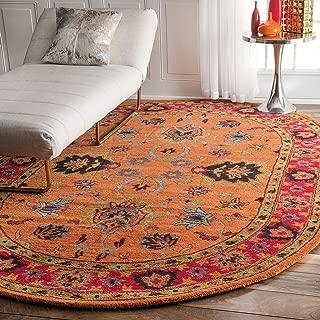 nuLOOM Montesque Hand Tufted Wool Rug, 8' x 10' Oval, Orange