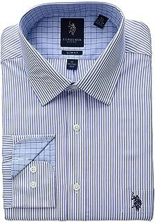U.S. Polo Assn. Mens Slim Fit Striped Semi Spread Collar Dress Shirt Dress Shirt