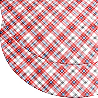 "Round Vinyl Tablecloth (2 Pack) with Stitched Elastic Edge for Snug Fit – Heavy Duty, Felt Back, Plaid Pattern Table Cover, Easy Clean Up – Red, Blue, White – Fits 45"" - 56"" Diameter Tables (2 Pack)"