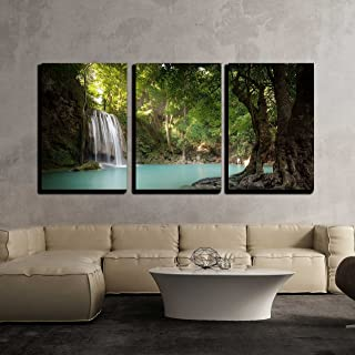 wall26 - 3 Piece Canvas Wall Art - Sunlight Beams and Rays Shine Through Leaves of Trees in Tropical Rainforest Park - Modern Home Decor Stretched and Framed Ready to Hang - 24
