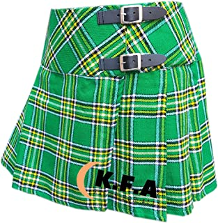 National Irish Womens Tartan Pleated Billie Kilt Skirt Leather Buckled Straps