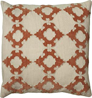 """Rizzy Home T05756 Decorative Poly Filled Throw Pillow 18"""" x 18"""" Natural/Rust"""