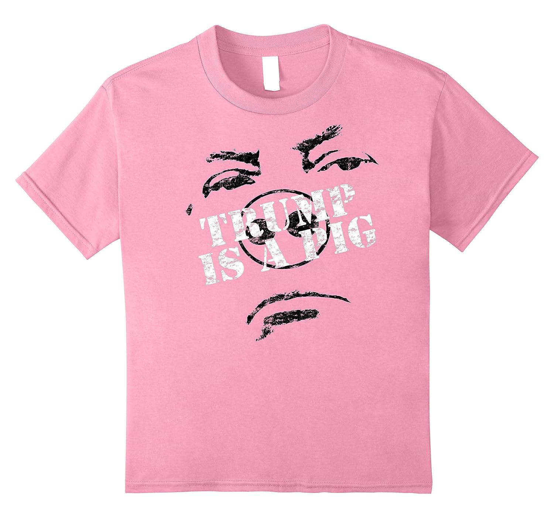 Funny Hate Trump Is A Pig Face Anti Trump Impeach The Pig Premium T Shirt