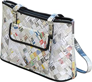 Tote handbag made from newspaper - style eco satchel repurposed cool cute fun upcycled upcycle up-cycled recycled lovely gorgeous smart person vegetarians inspiration paper