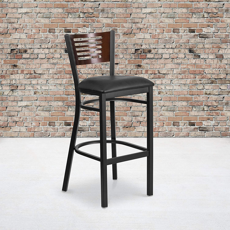 Flash Furniture HERCULES Series Black Slat Back Metal Restaurant Barstool - Walnut Wood Back, Black Vinyl Seat