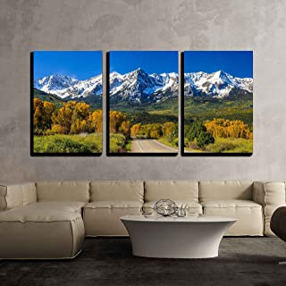 wall26 - 3 Piece Canvas Wall Art - Countryside Road, Fall Season in Colorado - Modern Home Decor Stretched and Framed Ready to Hang - 16