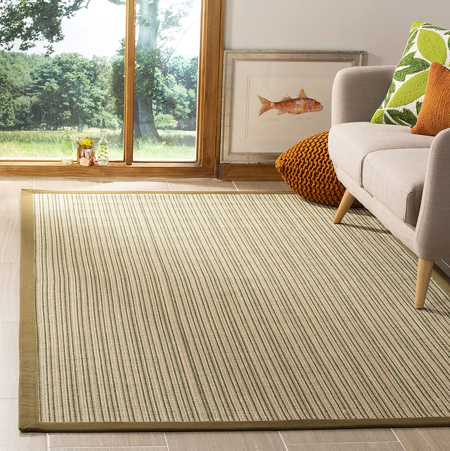 Safavieh Max 46% OFF Natural Fiber Collection NF132A Sisal Border Ranking TOP8 Are Stripe