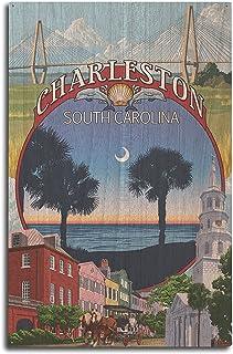 Lantern Press Charleston, South Carolina – Town Views (10×15 Wood Wall Sign,..