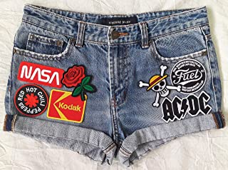 ffebc188 Patched Denim/Hand Reworked Vintage Jean Shorts with Patches Women 29 Waist