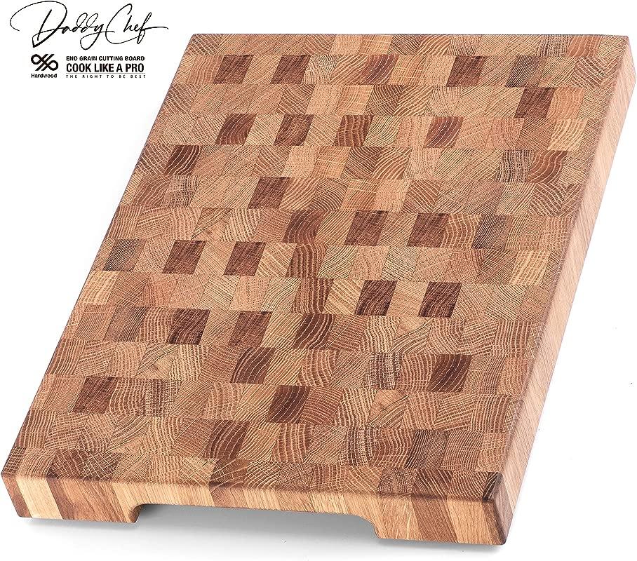 Daddy Chef End Grain Wood Cutting Board Wood Chopping Block Large Cutting Board 16 X 12 Kitchen Butcher Block Oak Cutting Board Non Slip Cutting Board With Feet Kitchen Wooden Chopping Board