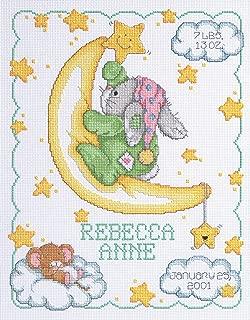 Janlynn Cross Stitch Kit, 14-Inch by 11-Inch, Crescent Moon Birth Announcement