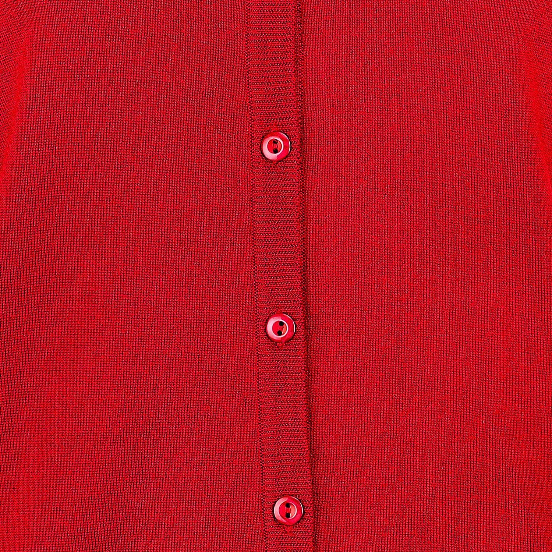 Aldo Scarpi A0.TGIA.10D 4E1789 Damen Strickjacke aus Schurwolle Knopfleiste Uni Rot