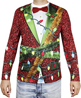 Funny Holiday T-Shirt for Men, Christmas Lights Tux (Red, Size Medium)
