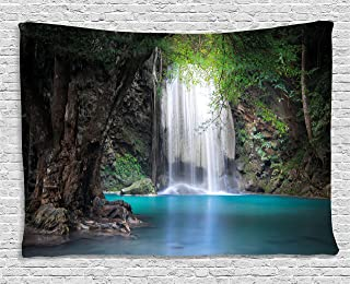 Ambesonne Nature Tapestry by, Surreal Scene Deep down in Rainforest with Waterfall Idyllic Image, Wall Hanging for Bedroom Living Room Dorm, 80WX60L Inches, Turquoise Brown Fern Green