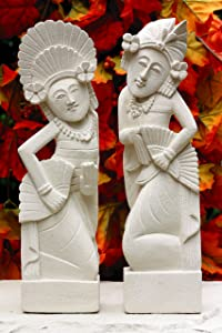 G6 Collection Hand Carved Limestone Sculpture Set of 2, Balinese Dancer Couple Statue Home Decor Handmade Handcrafted Gift Decorative Figurine Accent Decoration Artwork Stone (8